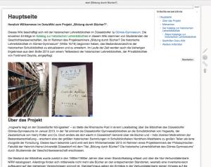 Ausschnitt der Hauptseite der DokuWiki zum Projektseminar