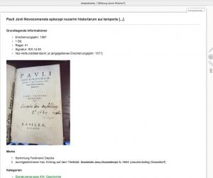 (I) Ausschnitt eines Musterbeispiels für einen Katalog-Eintrag, angelegt in der DokuWiki